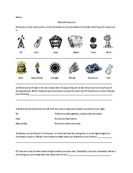 Renewable/ Non-renewable resources worksheet