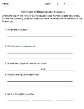 Renewable NonRenewable Resources VAAP HSS-ERH 2 Visual Helper Autism
