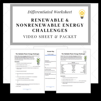 Renewable & Nonrenewable Energy Challenges Video Sheet & Packet