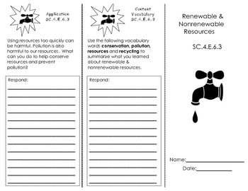 Renewable & Nonrenewable Resources Trifold