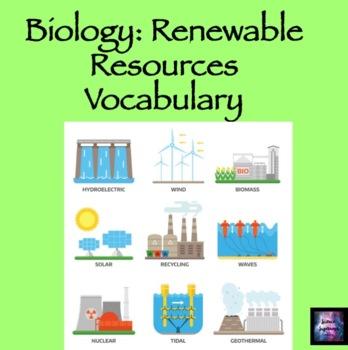 Renewable Resources Vocabulary