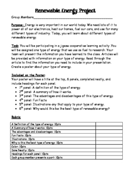 Alternative Energy Jigsaw and Poster Project