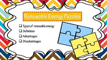 Renewable and Non-Renewable Energy puzzles & foldable