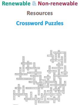 Renewable and Non-renewable Resources Crossword Puzzles