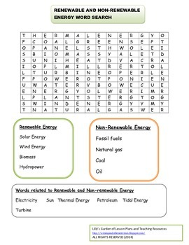 Renewable and Non-Renewable  Energy Word Search