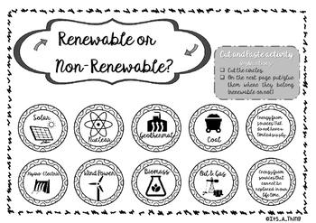 Renewable and Non renewable energy - Copy paste activity