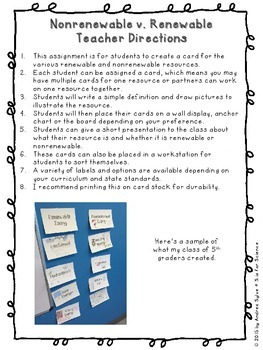 Renewable and Nonrenewable {Interactive Activity & Display for Bulletin Boards}