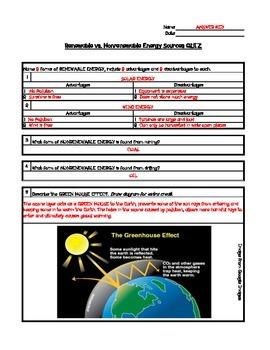 Renewable and Nonrenewable Energy Quiz