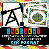 Renewable and Nonrenewable Resources - Card Sort - CER Format