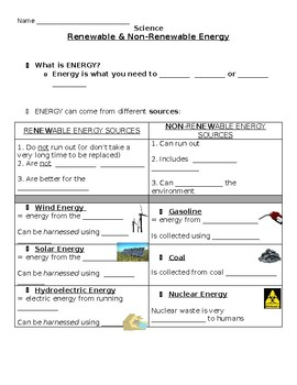 Energy Sources Worksheet | Teachers Pay Teachers