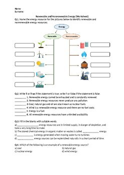 Renewable and Nonrenewable Energy - Worksheet by Science Worksheets