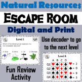 Renewable and Nonrenewable Natural Resources Activity: Escape Room - Science