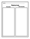 Renewable and Nonrenewable Resouces T Chart Compare Contrast Graphic Oranizer