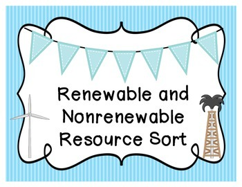 Renewable and Nonrenewable Resource Sort