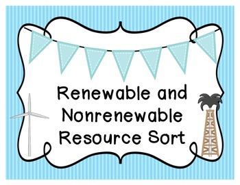 Renewable and Nonrenewable Resource Sort