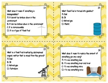 Renewable and Nonrenewable Resource Task Cards Board Game