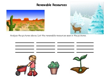 Renewable and Nonrenewable Resources.. Classify, Define, and Analyze