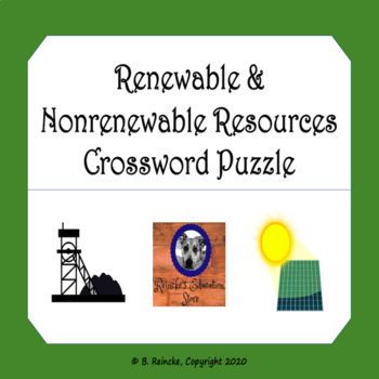 Renewable and Nonrenewable Resources Crossword Puzzle