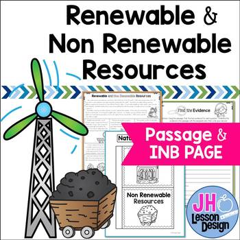 Renewable and Nonrenewable Resources: Passage and Interactive Notebook Page