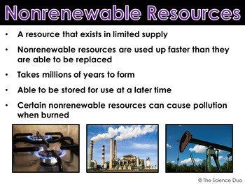 Renewable and Nonrenewable Resources - PowerPoint and Notes
