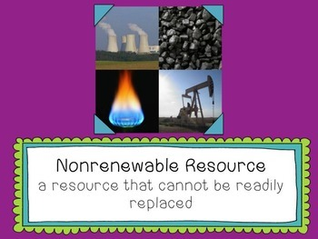 Renewable and Nonrenewable Resources Vocabulary Words