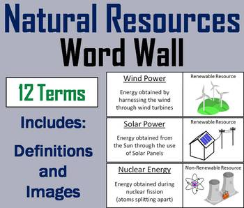 Renewable and Nonrenewable Resources Word Wall Cards