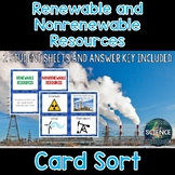Renewable and Nonrenewable Resources Card Sort