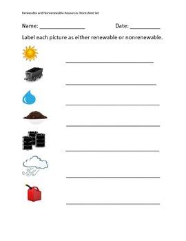 Renewable and Nonrenewable Resources Worksheet Set