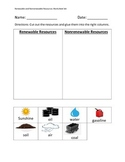 Renewable and Nonrenewable Resources Worksheet Set