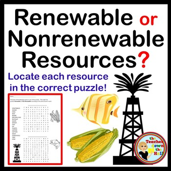 Renewable or Non-renewable Resource  Puzzle / Quiz - Great fun for Review!