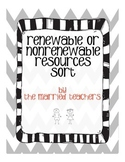 Renewable or Nonrenewable Resources Cut and Paste Sort