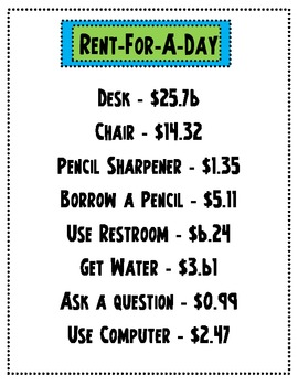 Rent-For-A-Day {A decimal addition & subtration game}