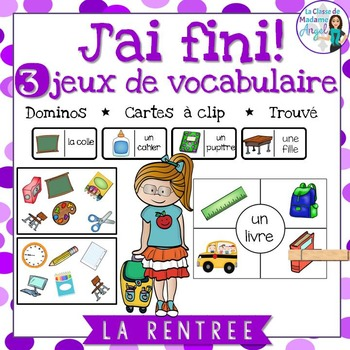 Rentrée Scolaire: 3 Back to School Themed Vocabulary Games