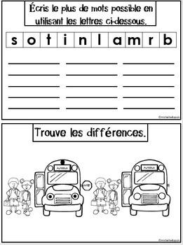 Rentrée Scolaire (Carnet d'activités)   -   French Back to School Activities