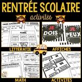 Rentrée Scolaire (Math, Littératie, Activités) - French Back to School