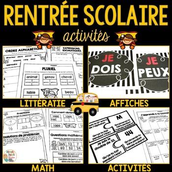 Rentrée Scolaire (Math, Littératie, Activités) - French Ba