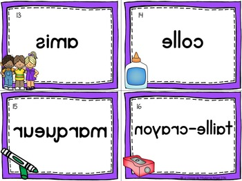 Rentrée Scolaire:  Back to School Vocabulary Center - Mots Miroirs