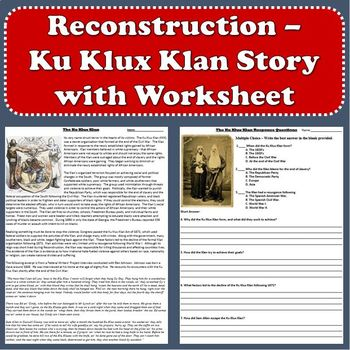 Reconstruction - Ku Klux Klan Primary Source Reading ...