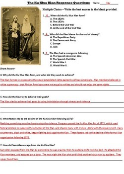 Reconstruction - Ku Klux Klan Primary Source Reading Passage with Worksheet