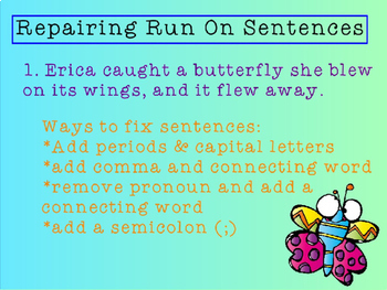 Grammar Practice : Run On Sentences and Comma Rules Power Point
