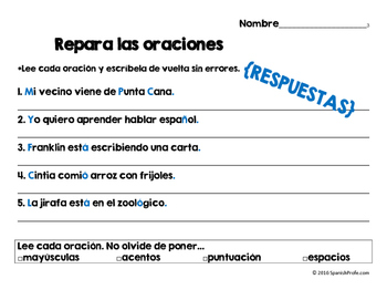 Repara las oraciones 2 (Fix sentence errors in Spanish)