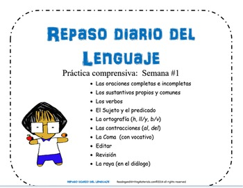 REPASO DIARIO DEL LENGUAJE -SEMANA #1 / Daily Oral Language in Spanish