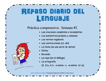 REPASO DIARIO DEL LENGUAJE - SEMANA #2 / Daily Oral Language in Spanish