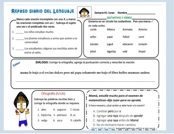 Repaso Diario Del Lenguaje/Daily Oral Language in Spanish (SEMANA #3)
