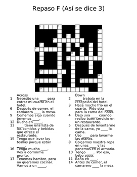 Repaso F Vocab Crossword (Asi se dice 3)