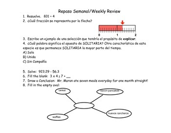 Repaso Semanal-Weekly Review (Spanish and English)
