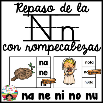 Spanish Alphabet Letter N - Rompecabezas (na, ne, ni, no,