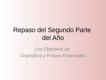 Repaso del Segundo Parte del Año (Spanish 1 Review) Basic Conjugations