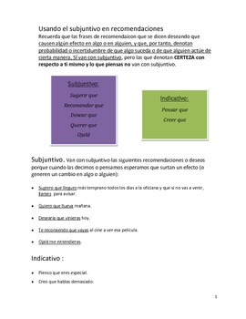 Repaso del Subjuntivo. Present Subjective in Spanish