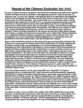 Repeal of the Chinese Exclusion Act 1943 Article with Summary Assignment